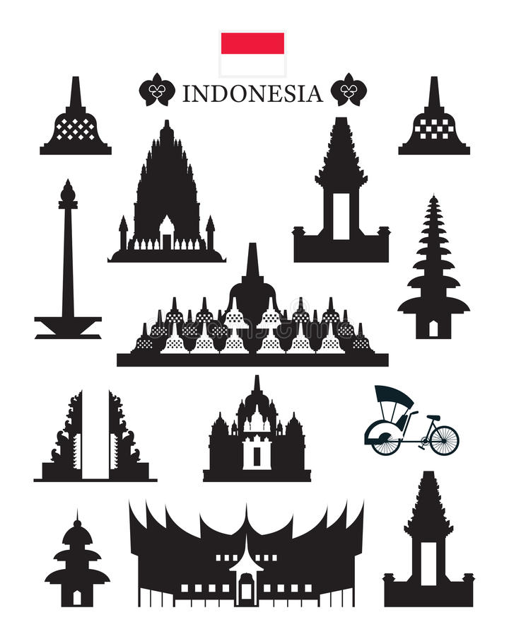 Indonesia Landmarks Architecture Building Object Set Stock