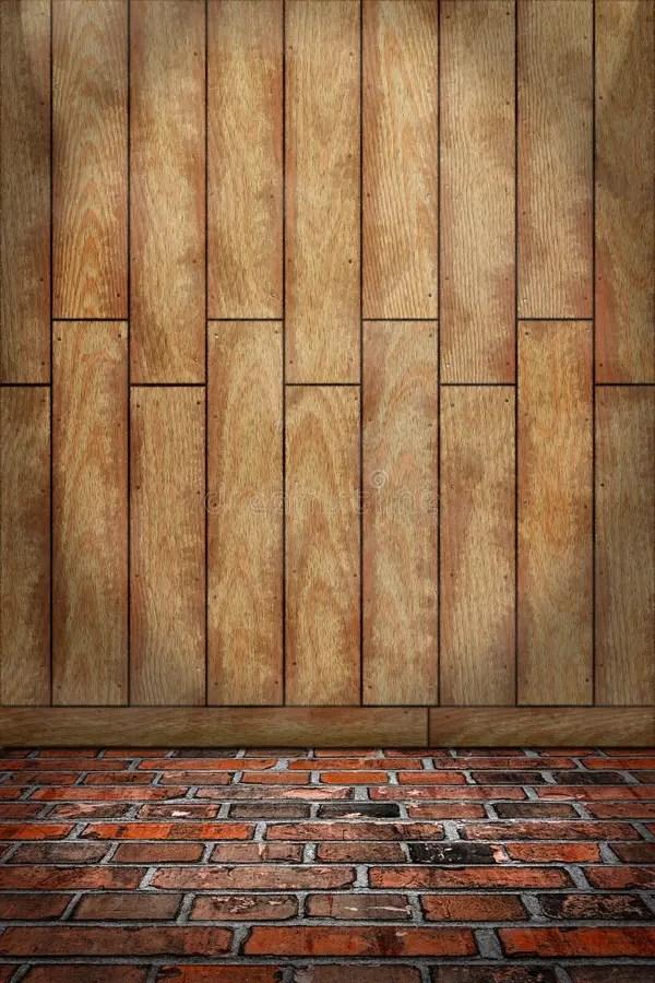 Indoor Background Brown Wood Wall Red Brick Floor Stock