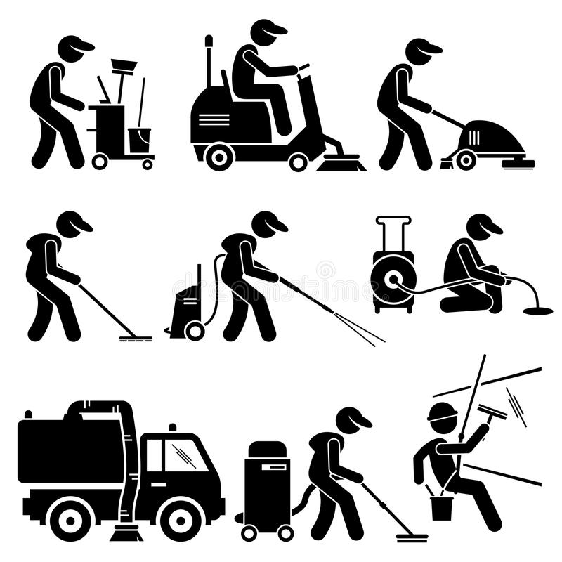 Industrial Cleaning Worker With Tools And Equipment