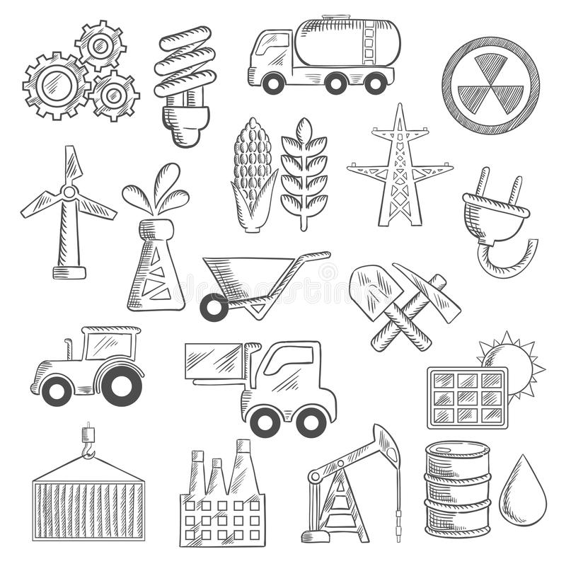 Wind energy objects sketch stock vector. Illustration of