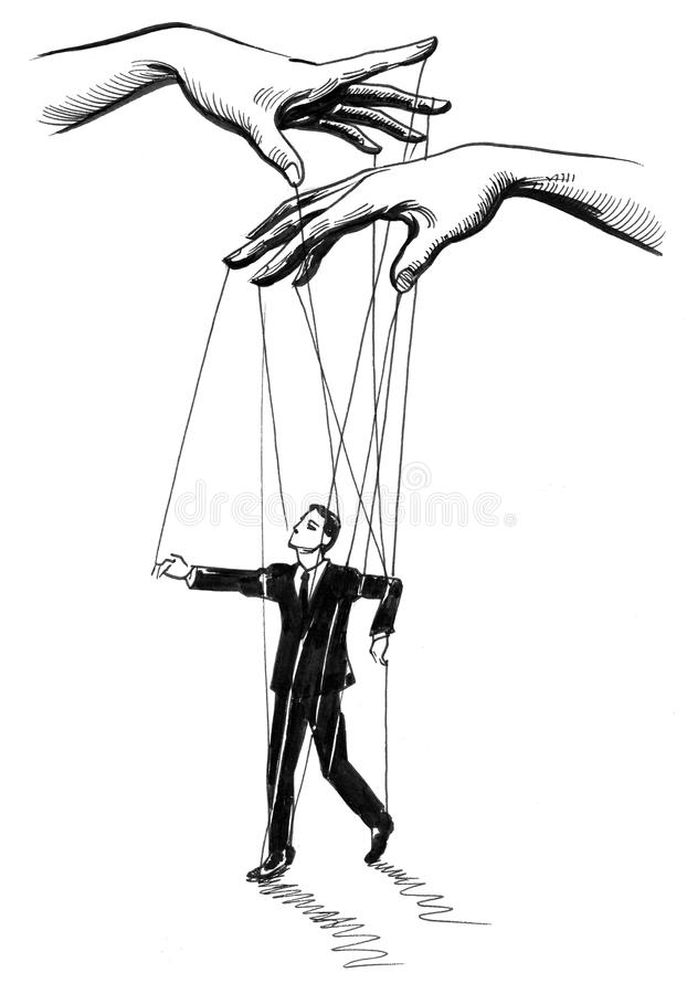Puppet and puppeteer stock illustration. Illustration of