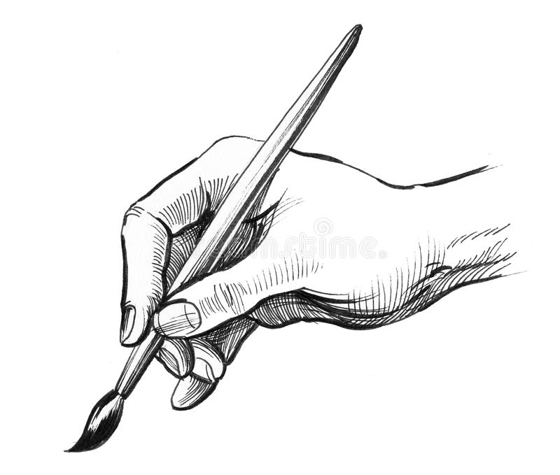 Hand holding an apple stock illustration. Illustration of