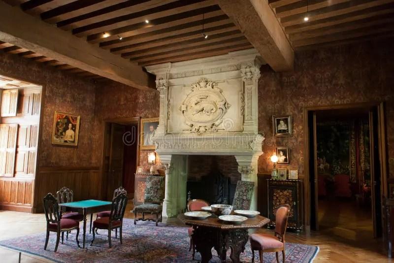 Interior Decoration In Castle Of AzayleRideau Stock