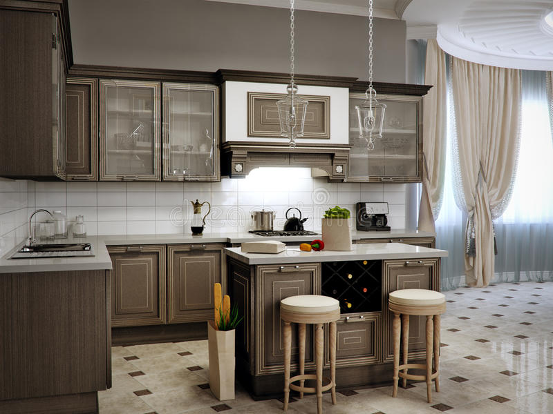 Interior Design Classico Del Salone Della Cucina E Della Sala Da Pranzo Illustrazione di Stock