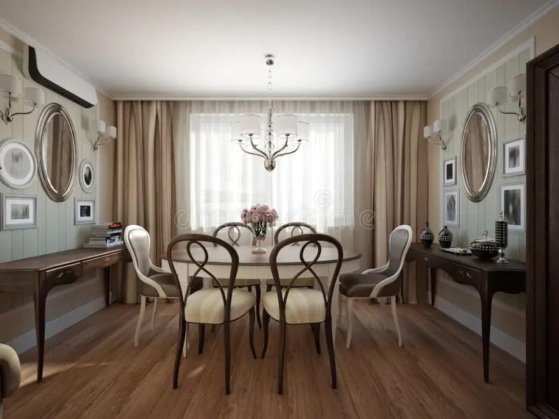 Interior Design Classico Moderno Della Sala Da Pranzo E Del Salone Illustrazione di Stock