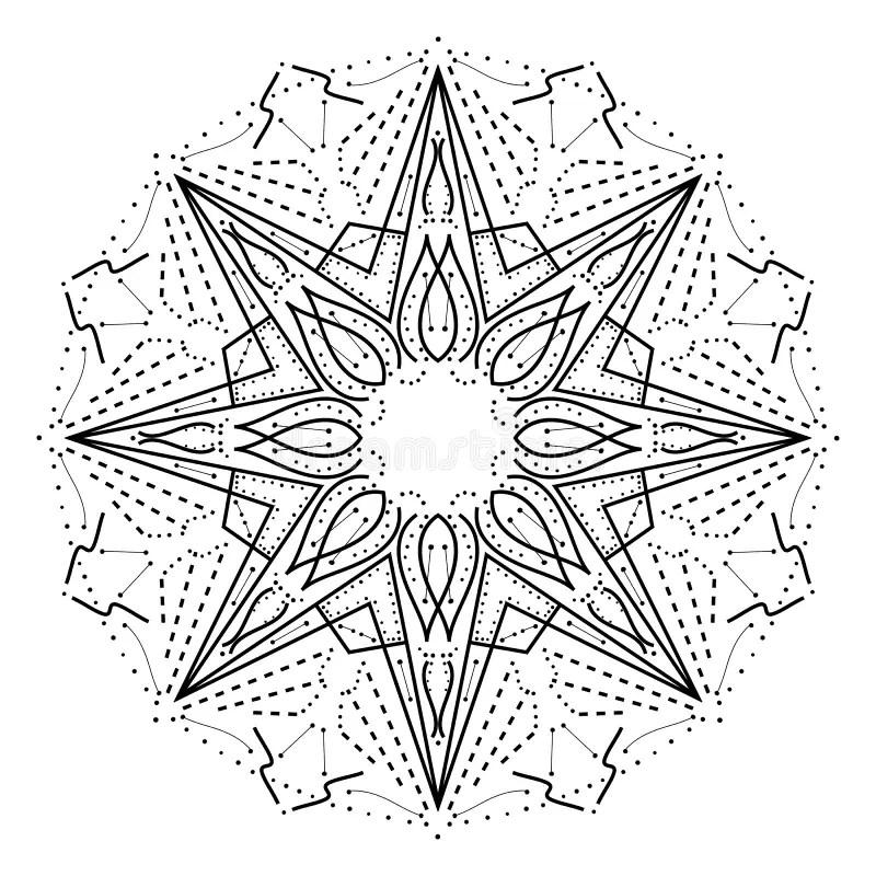 Intricate Geometric Mandala. Stylized Abstract Star