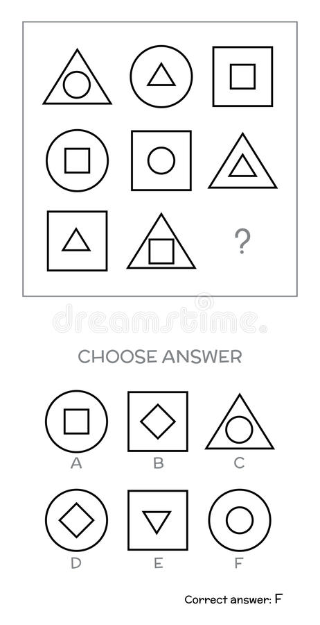 IQ test. Choose answer stock vector. Illustration of check