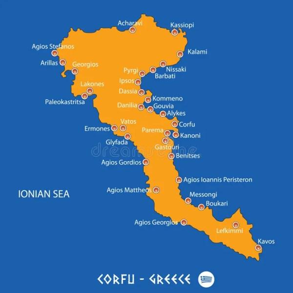 Island Of Corfu In Greece Orange Map And Blue Background
