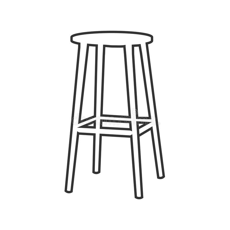 Outline Bar Stool Vector Icon. Isolated Black Simple Line