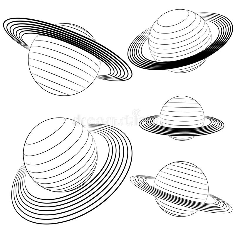 Isolated Saturn Planet Line Drawing Pack Stock Image