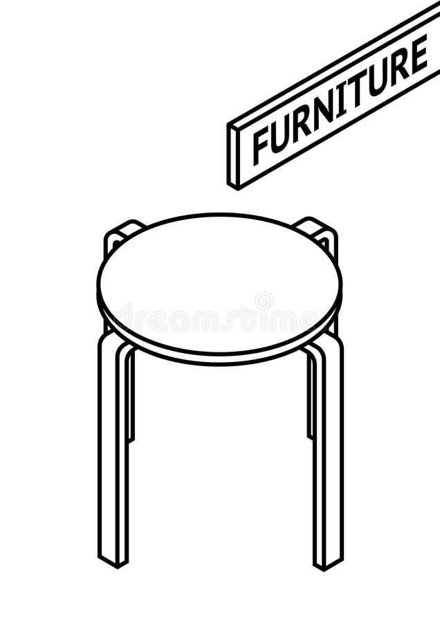 Isometric Outline Furniture. 3D Line Drawn Isometric Round