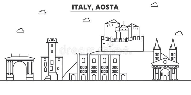 Italy, Aosta Architecture Line Skyline Illustration