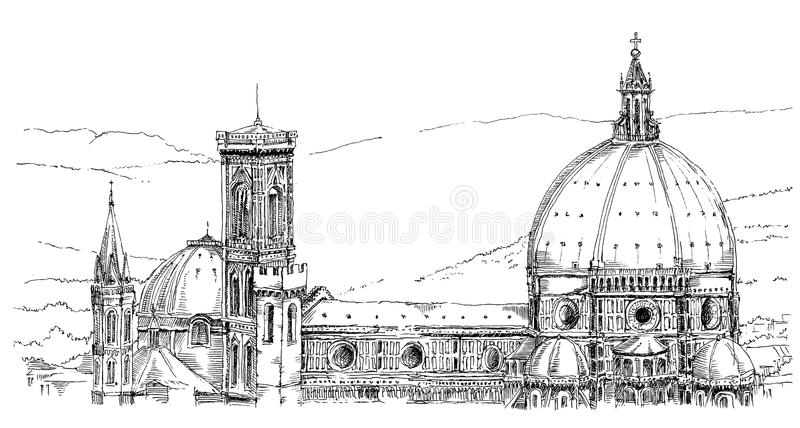 Italy, Florence stock vector. Illustration of monument