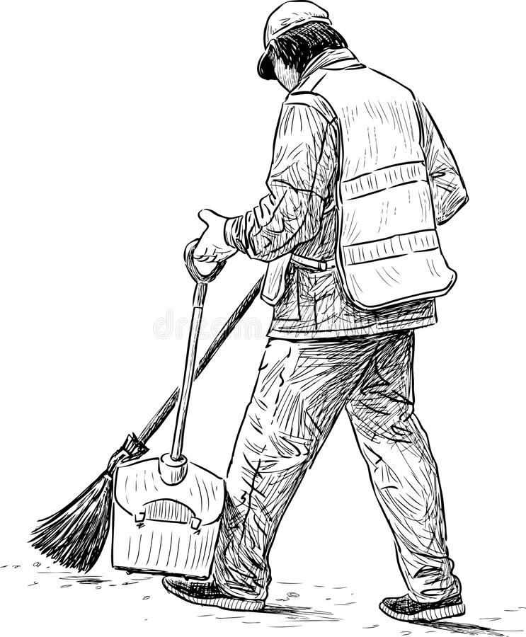 Janitor in a city park stock photo. Image of janitor