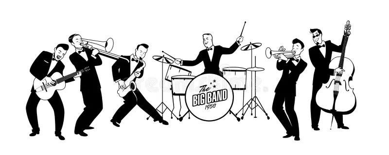 Jazz Swing Orchestra Retro Stile Illustrazione Del Fumetto