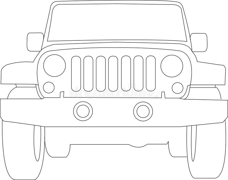 Jeep Truck Outline stock vector. Image of travel, auto