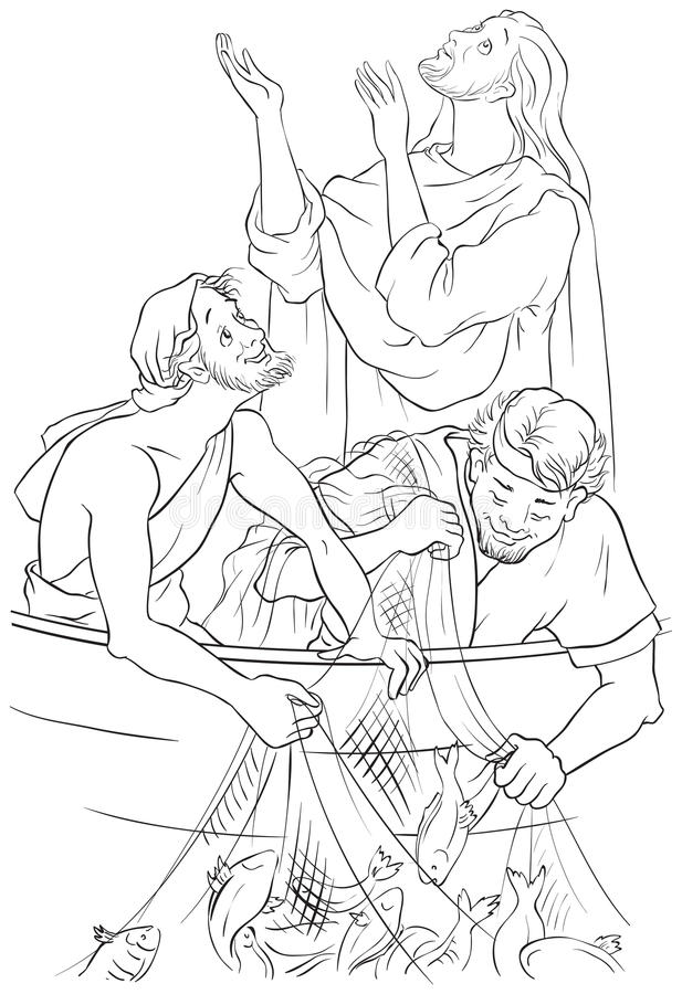 Jesus And The Miraculous Catch Of Fish. Coloring Page