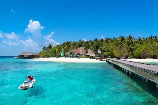 jet ski maldives beach stock