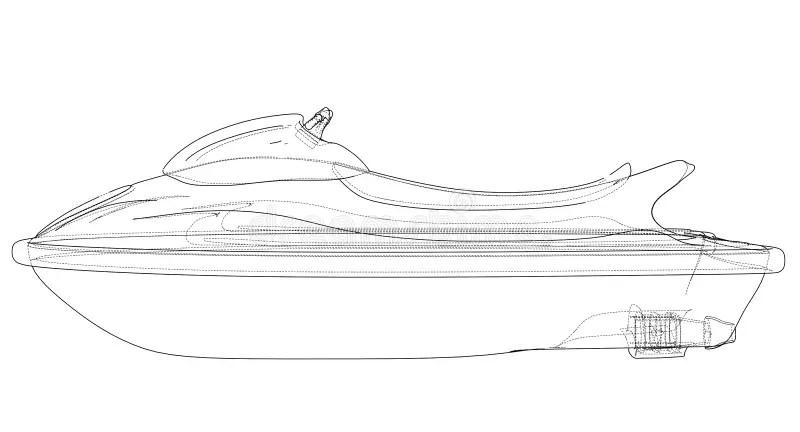 Sketch of Jetski stock vector. Illustration of activity