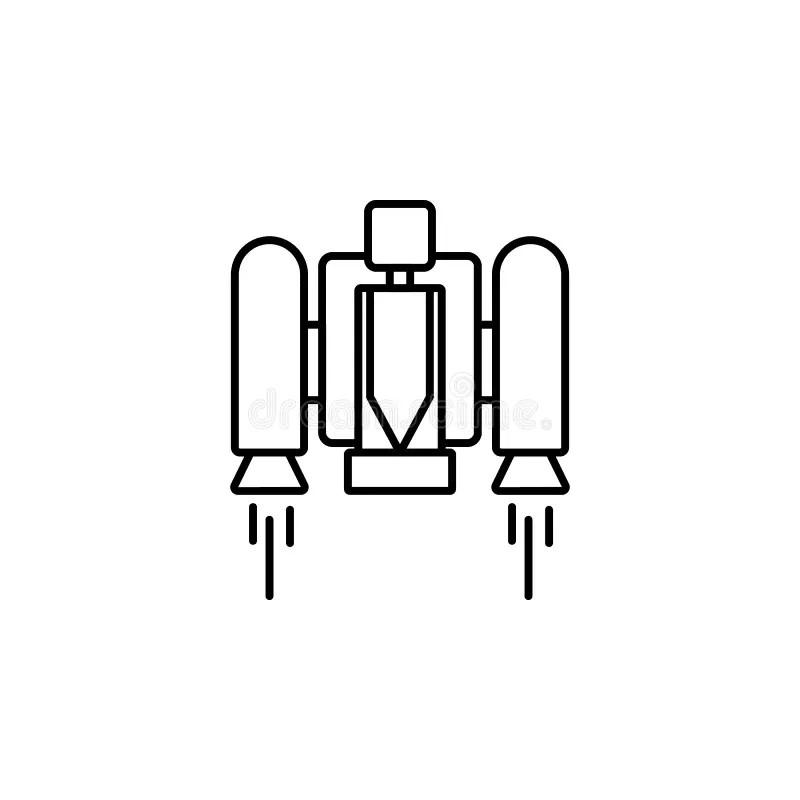 Jetpack man line art stock vector. Illustration of