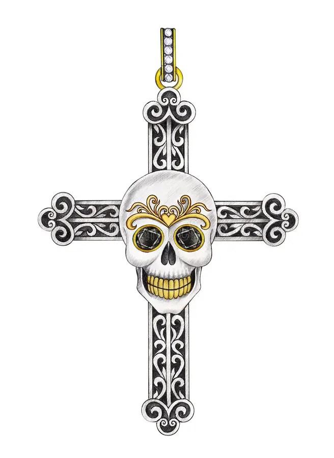 Art skull cross tattoo. stock illustration. Illustration