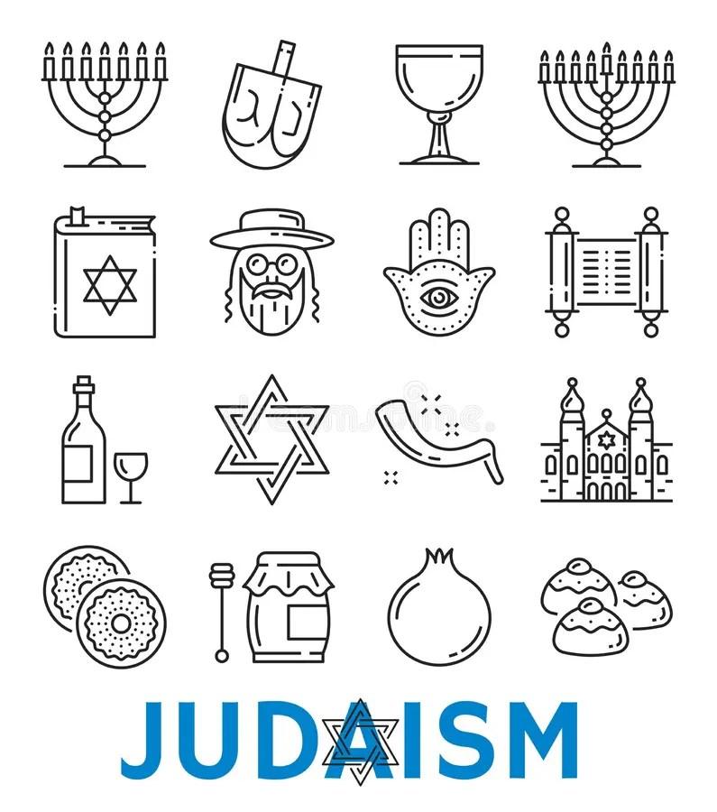 Religious Symbols Line Icons Set Stock Vector
