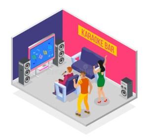 karaoke background bar 3d fun mock loudspeaker rendering emblem modern tv party illustration