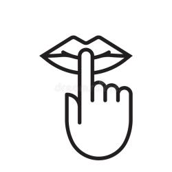 Keep Silence And Be Quiet Lips And Finger No Noise Vector Icon Stock Vector Illustration of shut sign: 129540258