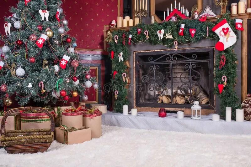 Binnenlandse Kerstmis Magische Gloeiende Boom Open