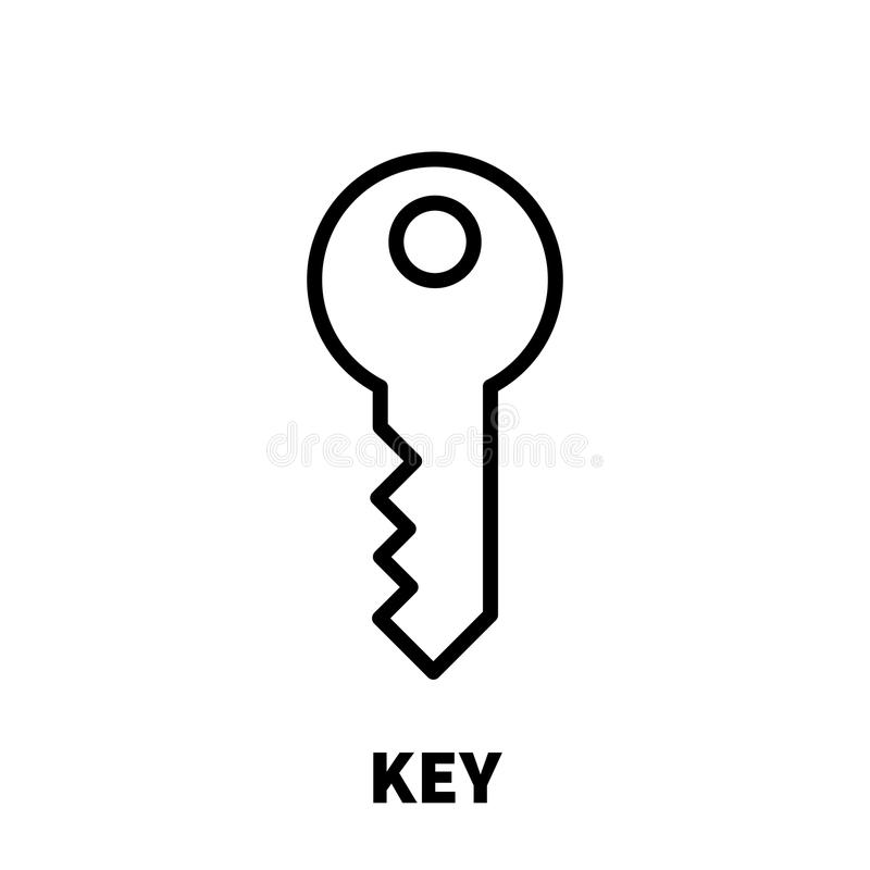 Key Icon Or Logo In Modern Line Style. Stock Vector