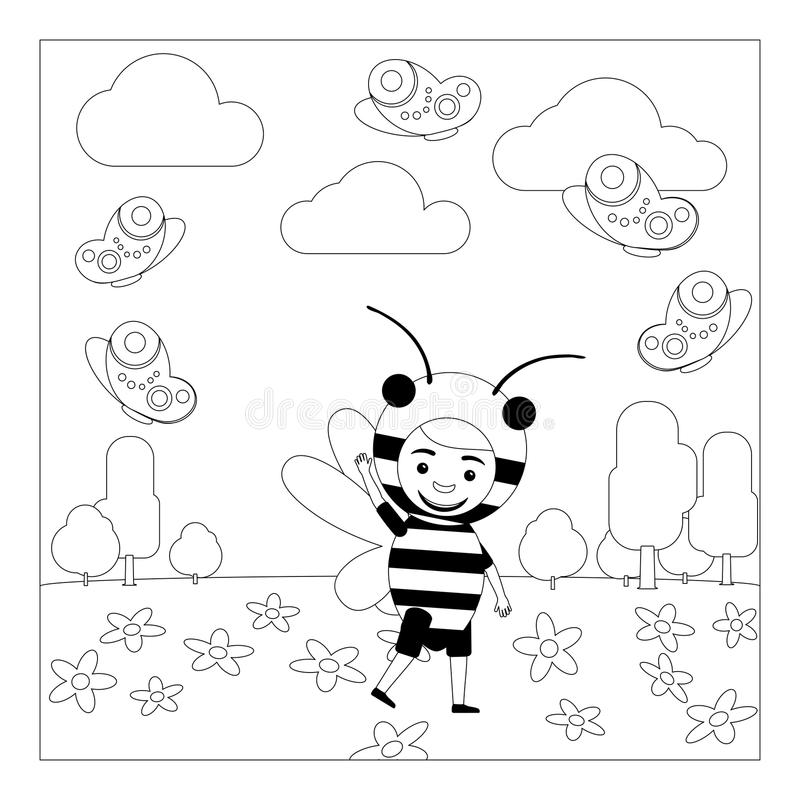 Girl With Paper Cup Coloring Page Stock Vector