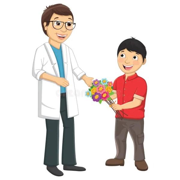 Kid Give Flower Teacher Vector Illustration Stock