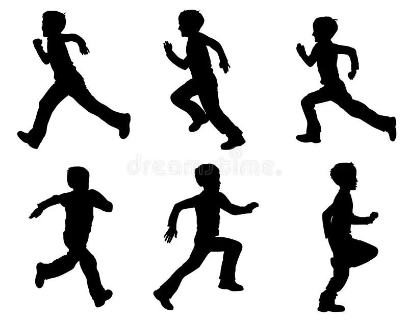 Kid running silhouettes stock vector. Illustration of
