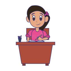 Kid Seated In School Desk Blue Lines Stock Vector Illustration of junior cheerful: 149098203