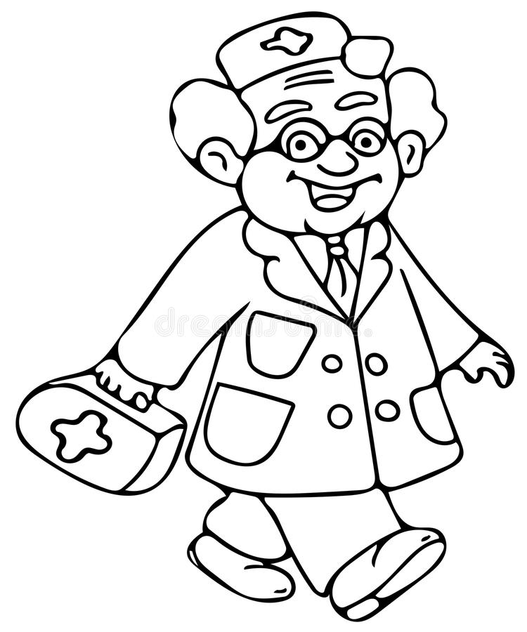 Funny Doctor Coloring Pages Stock Illustration