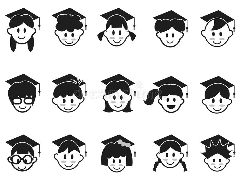 Graduation head icons stock vector. Illustration of adult
