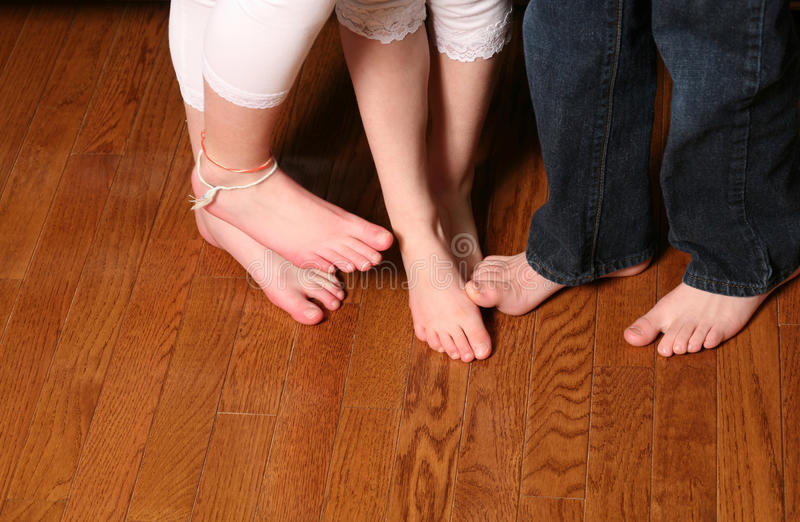 Kids Feet On Wood Floor Stock Image Image Of Silly Color
