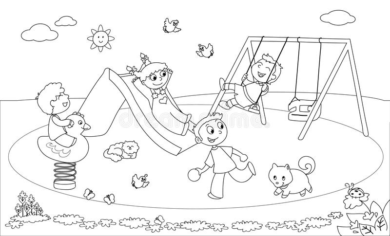 Kids At The Playground Coloring Vector Stock Vector