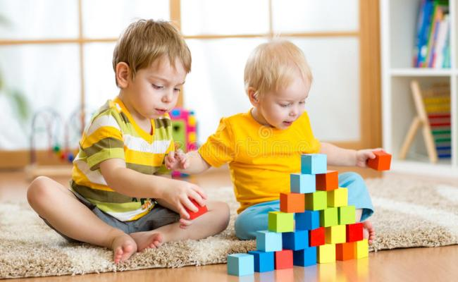 Kids Playing In Children Room Stock Image Image Of Care
