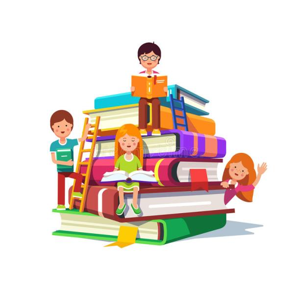 Kids Sitting And Reading Huge Pile Of Books Stock