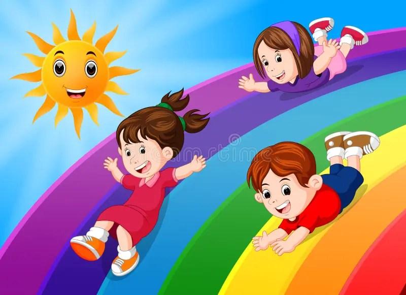 Kinder Die Auf Regenbogen Im Himmel Schieben Vektor