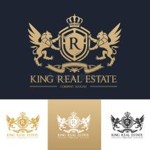 King Real Estate Logo Template Stock Vector - Illustration