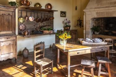Kitchen In A Medieval Castle With Kitchenware Furniture And Food On Display Loire Valley France Stock Photo Image of castle chateau: 130737130