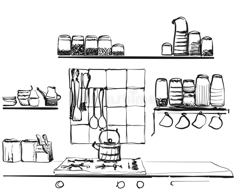 Hand Drawn Vector Illustration Of Kitchen Tools Isolate On