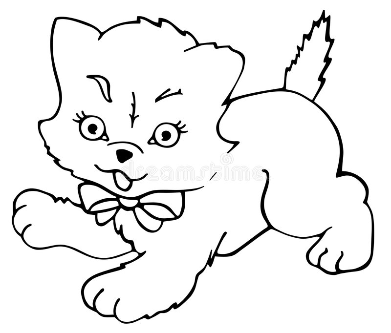 Kitty Cat Outlined Royalty Free Stock Image