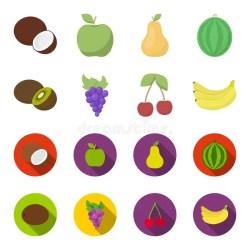 grapes kiwi cherry vector icons fruits banana symbol monochrome outline cartoon