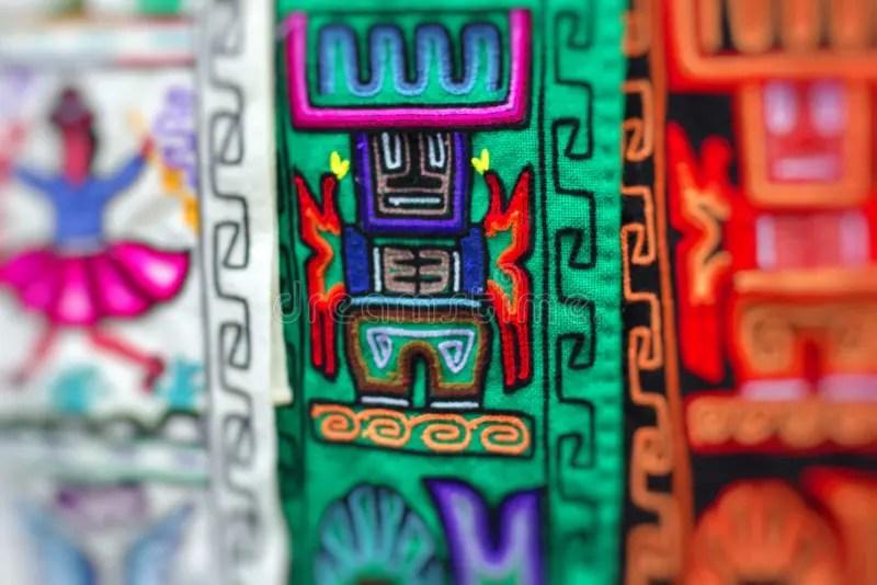 Kleurrijke Stof Bij Markt In Peru ZuidAmerika Stock