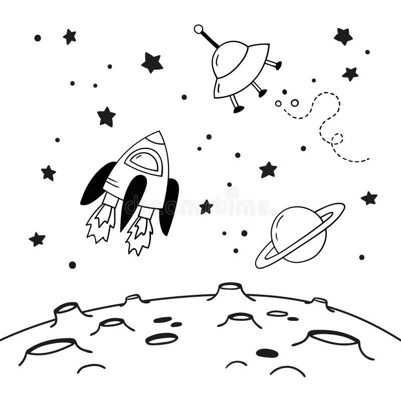 Maan Met Kraters Vector Tekening Vector Illustratie