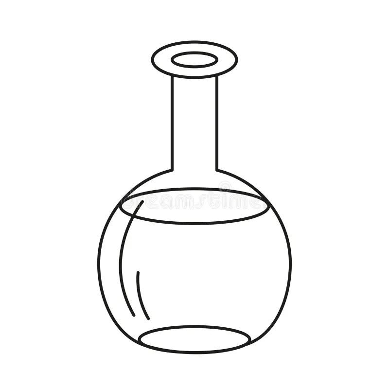 Lab Test Tube Icon Thin Line Isolated Illustration. Black