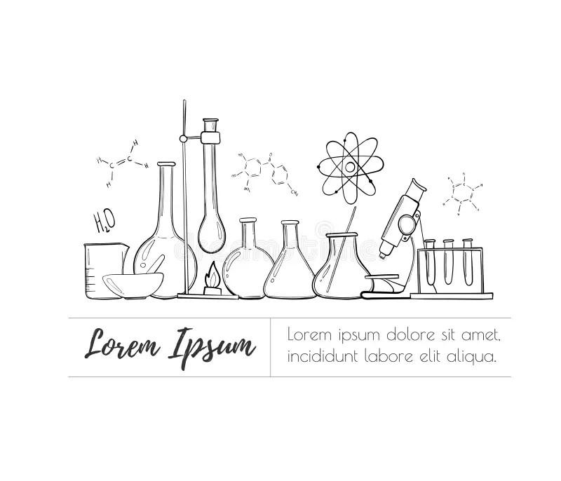 Laboratory Equipment Color Set. Science Chemistry